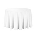 White cotton round tablecloth for a cake table availible to hire for catering events at Stamford Tableware Hire