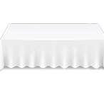 Large white cotton rectangle tablecloth availible to hire for catering events at Stamford Tableware Hire