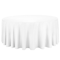 White cotton round tablecloth 300cm availible to hire for catering events at Stamford Tableware Hire