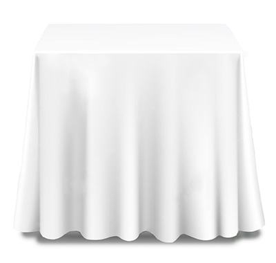 A white square tablecloth made from polyester